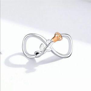NEW•Silver Infinity w/gp Rose DIY charm